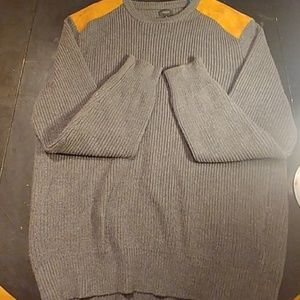 J Crew Suede Shoulder Patch Crewneck Knit sweater